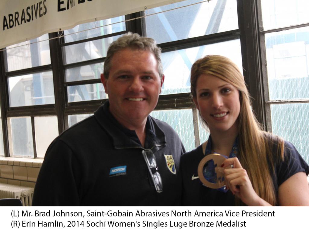Norton North America Vice President Brad Johnson with Olympic Athlete Erin Hamlin